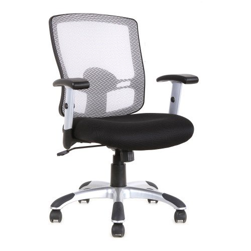 """36.75"""" Black and White Upholstered Mid Back Mesh Office Chair - IMAGE 1"""