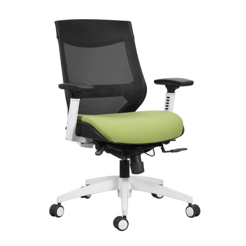 "40"" Black and Green Mesh Mid Back Fabric Seat Office Chair - IMAGE 1"