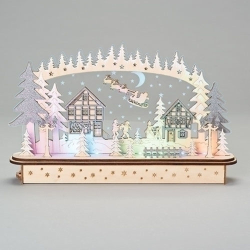 "16"" Beige and Pink LED Battery Operated Christmas Village Tabletop Decor - IMAGE 1"