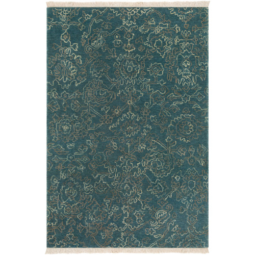 9' x 13' Transitional Style Green and Brown Rectangular Area Throw Rug - IMAGE 1