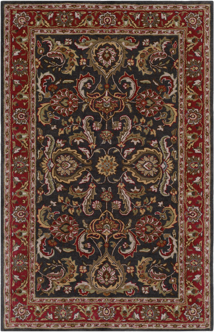 2' x 3' Red and Brown Floral Rectangular Area Throw Rug - IMAGE 1