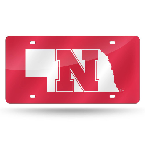 """6"""" x 12"""" Red and White College Nebraska Cornhuskers Tag - IMAGE 1"""