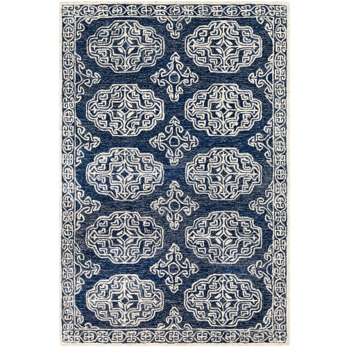 2' x 3' Persian Pattern Blue and Gray Wool Area Rug - IMAGE 1