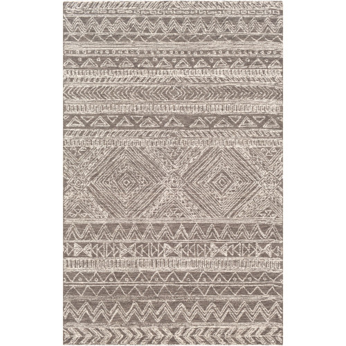 8' x 10' Contemporary Patterned Brown and Cream White Rectangular Area Throw Rug - IMAGE 1
