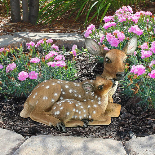 """19"""" Resting and Cuddling Mother Deer and Spotted Fawn - IMAGE 1"""