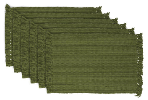 """Set of 6 Variegated Olive Green Rectangular Placemats with Fringe Borders 19"""" - IMAGE 1"""