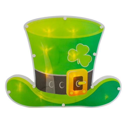 """12.5"""" LED Lighted Irish St. Patrick's Day Leprechaun Hat Window Silhouette with Timer - IMAGE 1"""