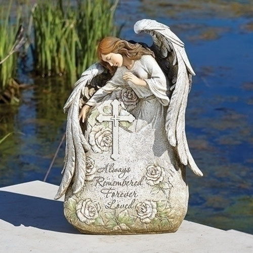"""16"""" White and Green Memorial Angel Garden Statue - IMAGE 1"""