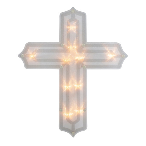 "14"" Lighted Religious Cross Easter Window Silhouette Decoration - IMAGE 1"