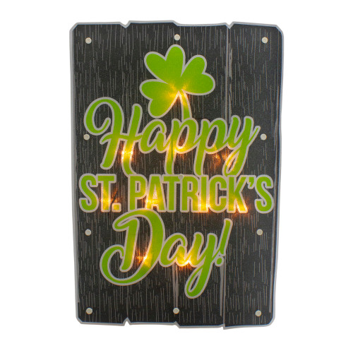 """17"""" Lighted Happy St.Patrick's Day Window Silhouette Decoration - IMAGE 1"""