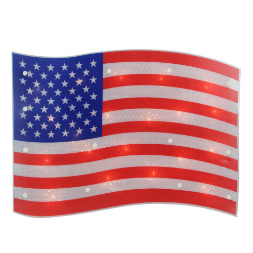 """17"""" Lighted Holographic Red, White and Blue American Flag Window Silhouette Decoration - IMAGE 1"""
