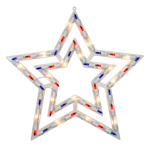 "17"" Lighted Red, White and Blue Patriotic Star Window Silhouette Decoration - IMAGE 1"
