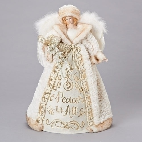 """16"""" Gold and White Peace to All Christmas Angel Tree Topper - IMAGE 1"""