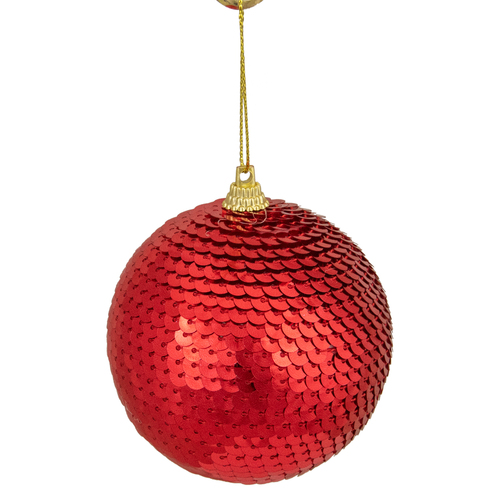 """Red Sequin Shatterproof Ball Christmas Ornament 3"""" - IMAGE 1"""