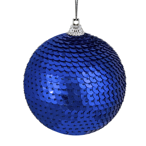 "Blue Sequin Shatterproof Ball Christmas Ornament 3"" - IMAGE 1"