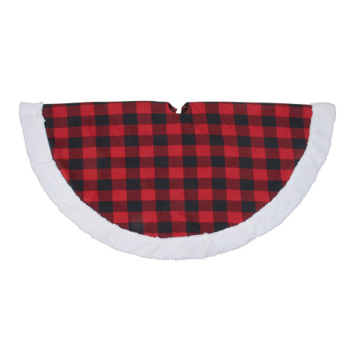 "56"" Black and Red Buffalo Plaid Round Christmas Tree Skirt - IMAGE 1"