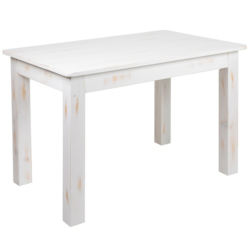 """46"""" Antique Rustic White Hercules Series Pine Farm Dining Table - IMAGE 1"""