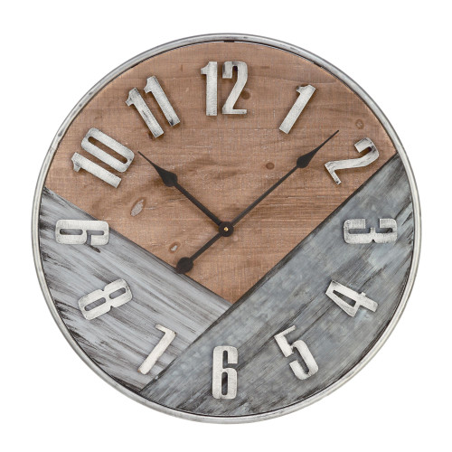 """23.75"""" Gray and Brown Vintage Rustic Finish Wall Clock - IMAGE 1"""