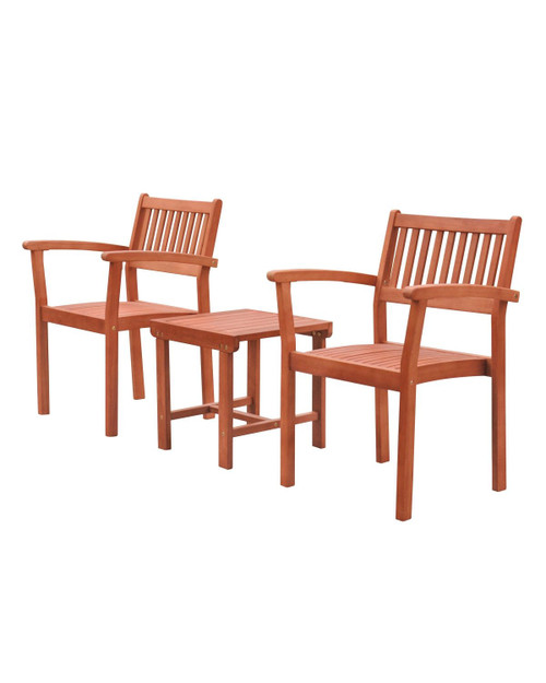 """3-Piece Brown Natural Wood Finish Outdoor Furniture Patio Conversation Set with Stacking Chairs 33"""" - IMAGE 1"""