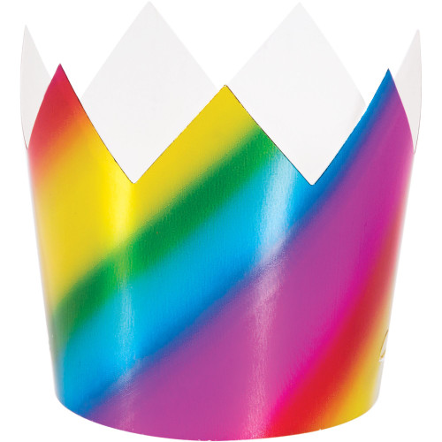 """Club Pack of 48 Blue and Pink Colored Foil Crowns 3.25"""" - IMAGE 1"""