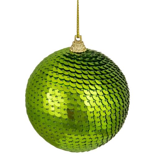 "Kiwi Green Sequin Shatterproof Ball Christmas Ornament 3"" - IMAGE 1"