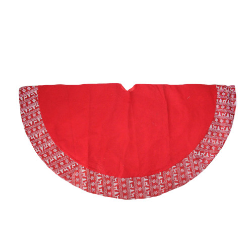 """46.5"""" Red and White Glittered Nordic Pattern Border Christmas Tree Skirt - IMAGE 1"""