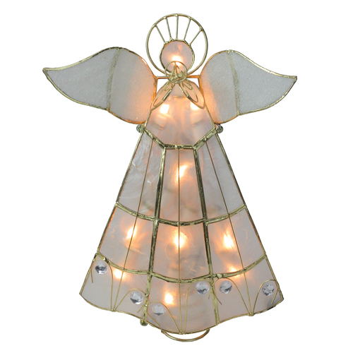 "9.75"" Lighted Gold Capiz Angel Trumpeter Christmas Tree Topper - Clear Lights - IMAGE 1"