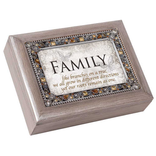 """8"""" White and Brown Rectangular Religious Musical Box - IMAGE 1"""