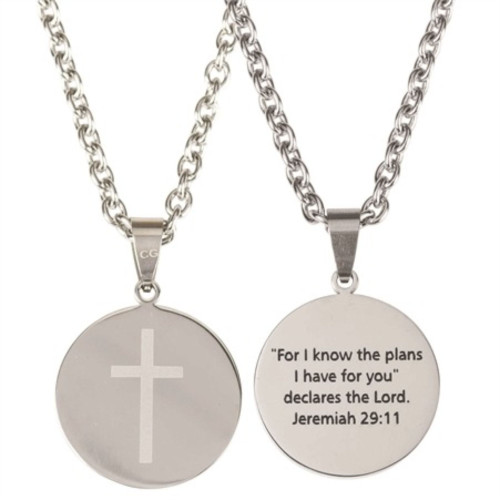 """24"""" Silver Men's Round Medal Necklace with Cross - IMAGE 1"""