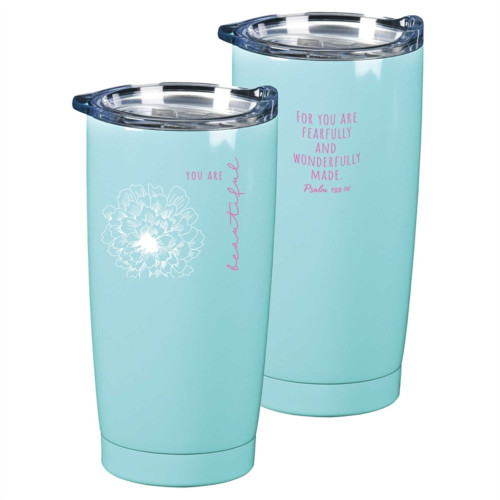 """7"""" Blue and Pink Religious Theme Psalm Printed Floral 20 oz Tumbler - IMAGE 1"""