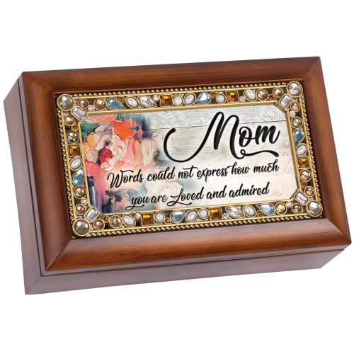 "6"" Brown and Gold Colored Mom's Love Themed Rectangular Music Box - IMAGE 1"