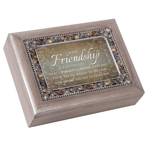"8"" Brown and White ""Friendship"" Printed Rectangular Music Box - IMAGE 1"