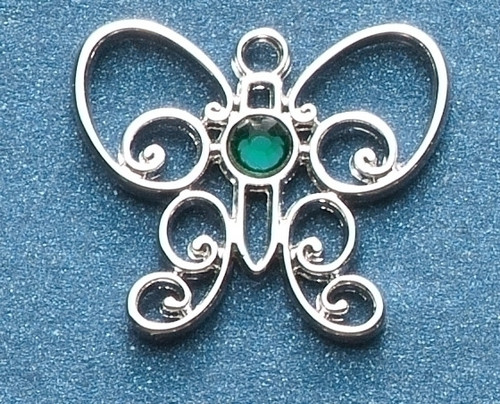 "Pack of 8 Jeweled Silver Scroll Butterfly May Birthstone Pins 1"" - IMAGE 1"