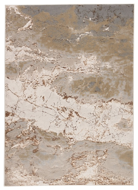 """5' x 7'6"""" Brown and Gray Abstract Design Machine Made Cisco Area Rug - IMAGE 1"""