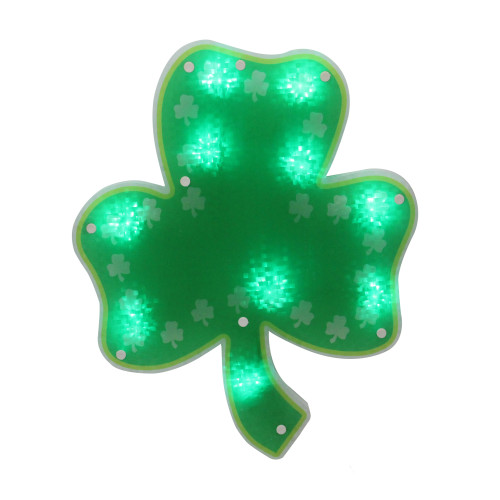 """14"""" LED Lighted Green Shamrock St. Patrick's Day Window Silhouette - IMAGE 1"""