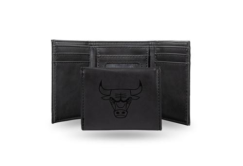 "4"" Black NBA Chicago Bulls Rectangular Trifold Wallet - IMAGE 1"
