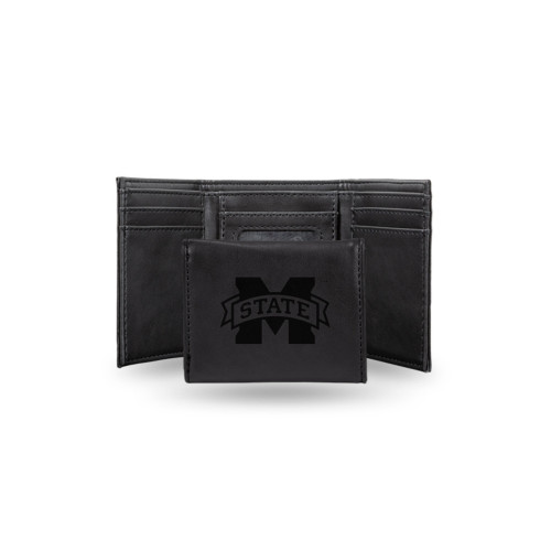 """4"""" Black College Mississippi State Bulldogs Trifold Wallet - IMAGE 1"""