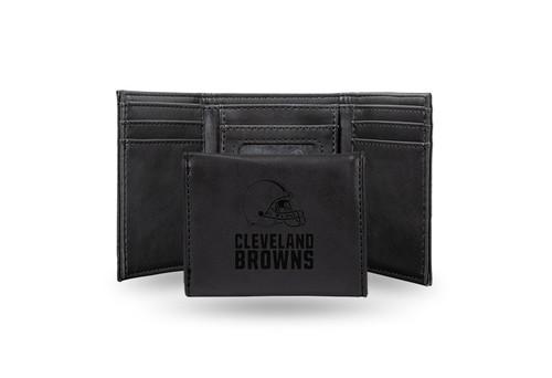 """4"""" Black NFL Cleveland Browns Trifold Wallet - IMAGE 1"""