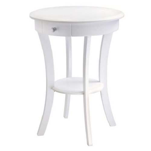"""27"""" White Modern Style Claire Wooden Round Accent Table - IMAGE 1"""