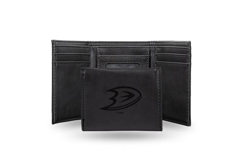"4"" Black NHL Anaheim Ducks Rectangular Trifold Wallet - IMAGE 1"