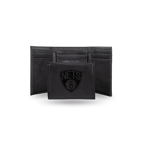 "4"" Black NBA Brooklyn Nets Rectangular Trifold Wallet - IMAGE 1"