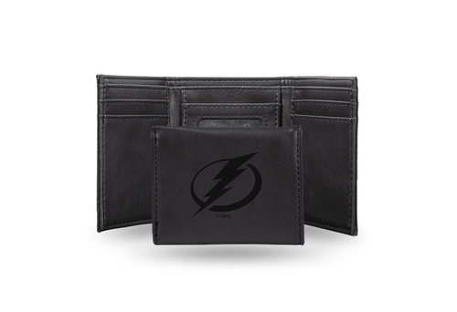 """4"""" Black NHL Tampa Bay Lightning Rectangular Trifold Wallet - IMAGE 1"""