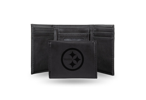 """4"""" Black NFL Pittsburgh Steelers Trifold Wallet - IMAGE 1"""