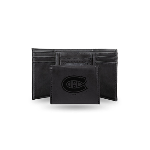 """4"""" Black NHL Montreal Canadiens Rectangular Trifold Wallet - IMAGE 1"""