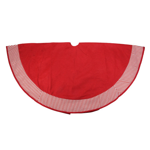 """48"""" Red and White Candy Cane Striped Christmas Tree Skirt - IMAGE 1"""