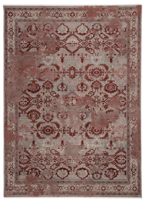 "5'3"" x 7'6"" Red and Gray Oriental Textured Distressed Designed Area Rug - IMAGE 1"