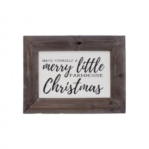 """16"""" White and Brown Merry Little Christmas Wood Canvas Wall Decoration - IMAGE 1"""