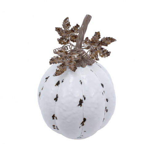 """12.25"""" Tall White and Brown Metal Pumpkin Fall Decoration - IMAGE 1"""