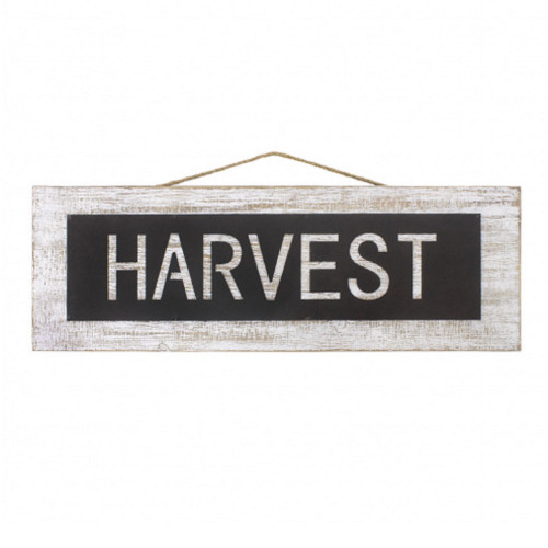 "24"" White Wood and Metal Harvest Sign - IMAGE 1"