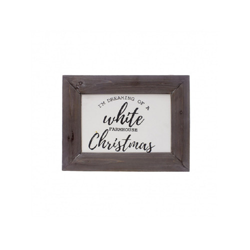 "16"" White Christmas Farmhouse Wood Framed Wall Sign Decoration - IMAGE 1"